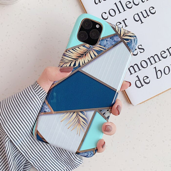 Blue and Tiffany Case with Leaf