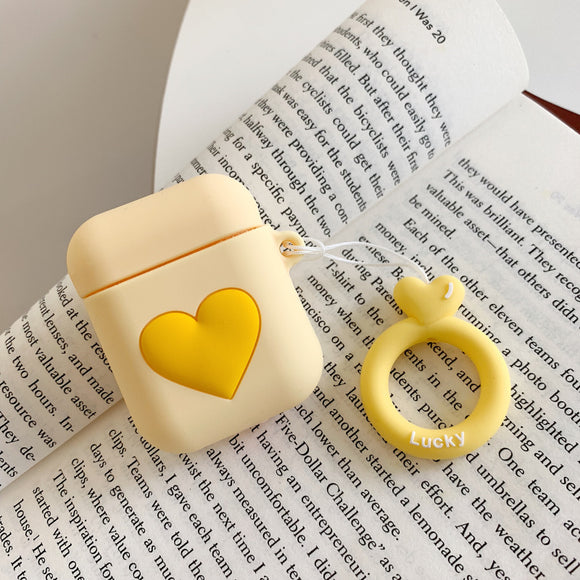 Yellow Heart AirPods Case with Ring - كفر ايربودز
