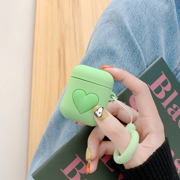 Green Heart AirPods Case with Ring - كفر ايربودز