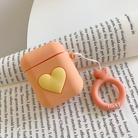 Orange Heart AirPods Case with Ring - كفر ايربودز