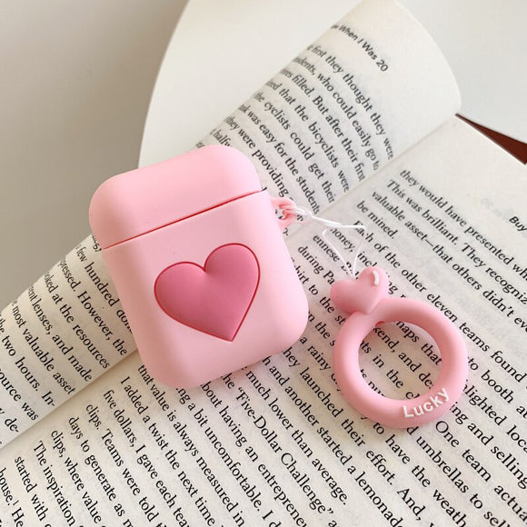 Pink Heart AirPods Case with Ring - كفر ايربودز
