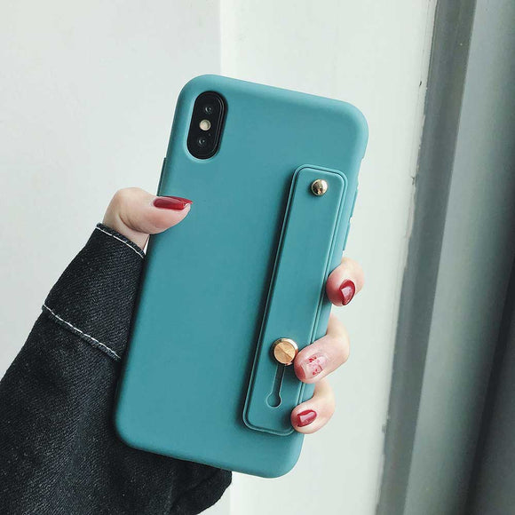 Turquoise Soft Candy Case with Strap - كفر مع مسكة شريطة