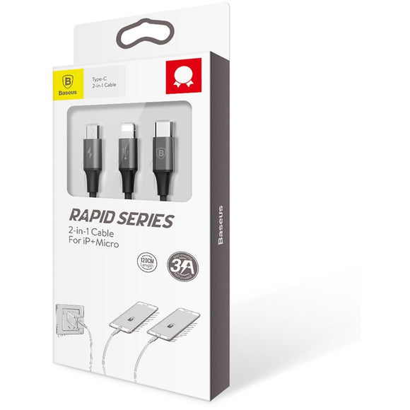 Baseus 2-in-1 Cable For Lightning (iPhone)+Micro-usb