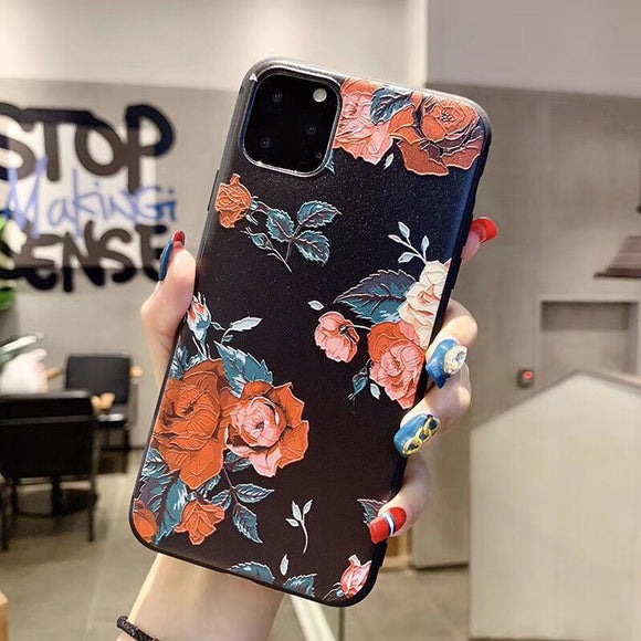 Black Case with Red Flowers