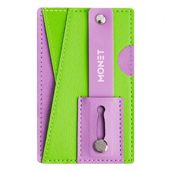 Monet Neon Barney - Green/Purple - محفظة ومسكة وستاند