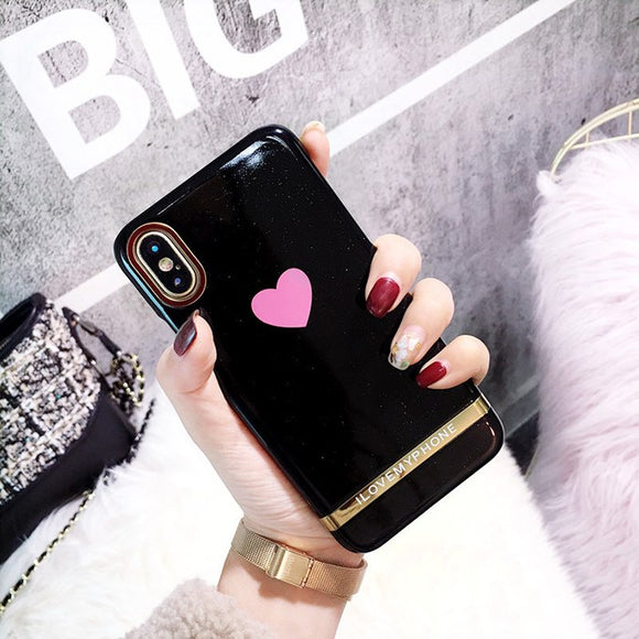 Black I Love my Phone Pink Heart Case