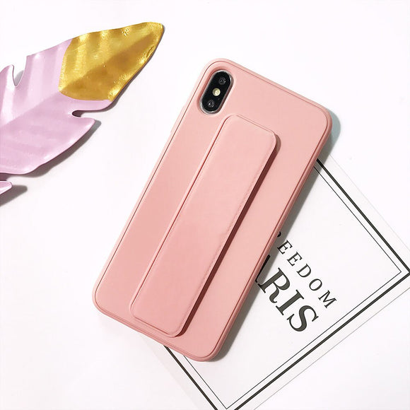 Pink Plain Case with Wrist Strap - كفر مع مسكة