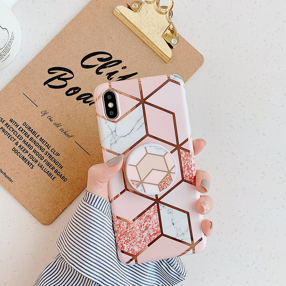 Pink Grey White Geometric Case with POP Grip - كفر مع مسكة دائرية