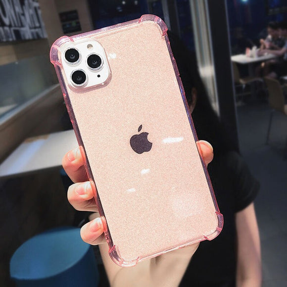 Pink Glitter Powder Clear Phone Case