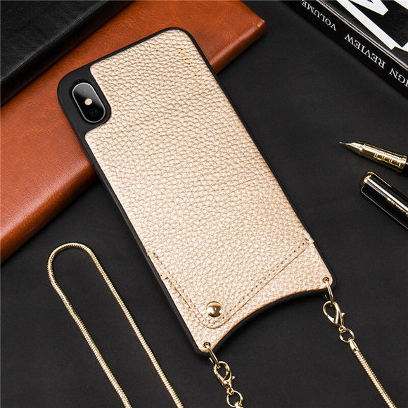 Gold Leather Case with Wallet and Lanyard - كفر مع محفظة وخيط علاقة
