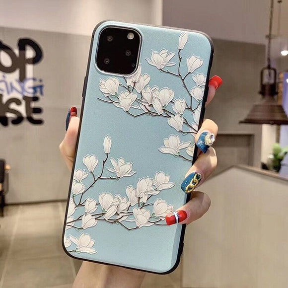 Gradient Baby Blue Case with Baby White Flowers