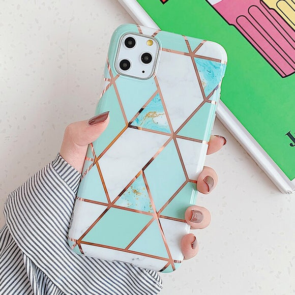 Light Green Marble Geometric Case