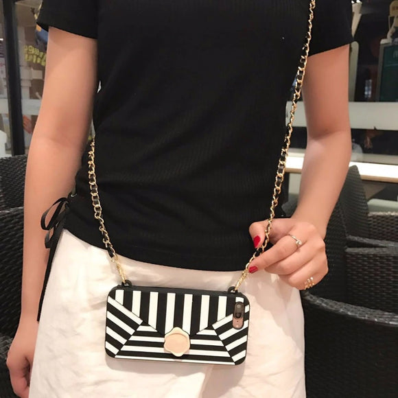 Black and White Stripes Wallet Case with Chain