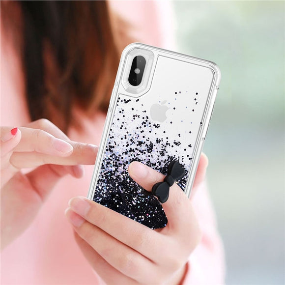 Black Glitter Diamond Liquid Case