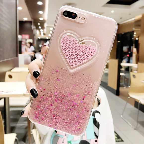 Glitter Clear Case with Pink Heart