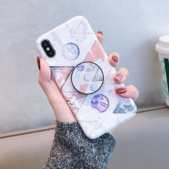 White Pink Mix Vintage Marble Case with POP Grip - كفر مع مسكة دائرية