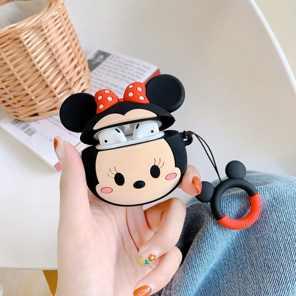 Minnie Cartoon Big Face AirPods Case with Ring - كفر ايربودز