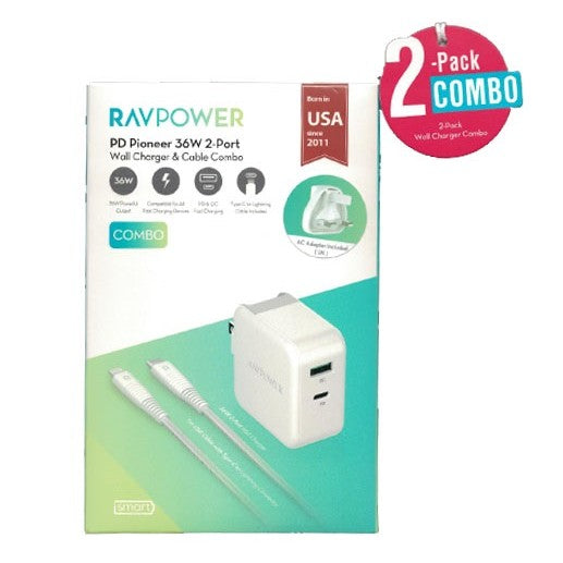 RAVPower COMBO - Wall Charger 36W+ C-Lightning Cable - بلاك حائط - راف باور - مع كيبل شحن ايفون لايتينينغ الى تايب سي
