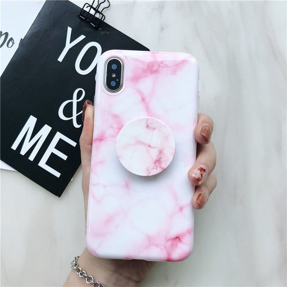 Pink Shape Marble Case with POP Grip - كفر مع مسكة دائرية