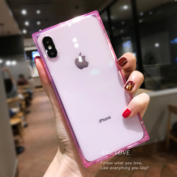 Pink Clear Square Edges Case
