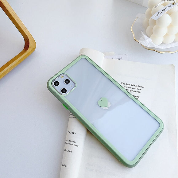Clear Case with Light Dark Green Border and Heart