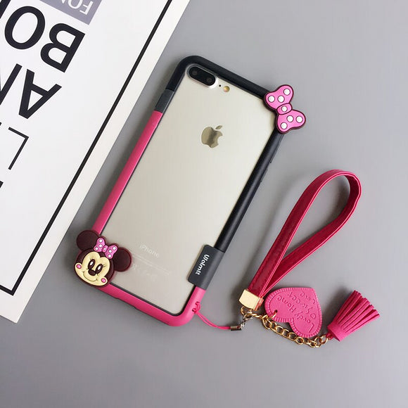 Red Minnie Mouse Case with Lanyard - كفر مع خيط علاقة