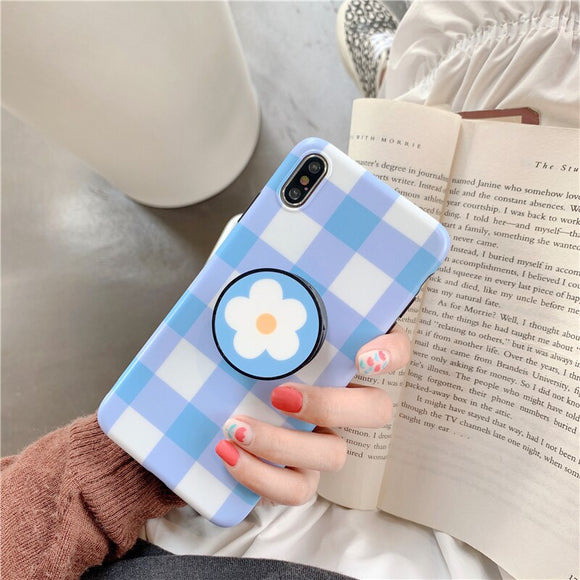 Baby Blue Stripe Case with POP Grip - كفر مع مسكة دائرية