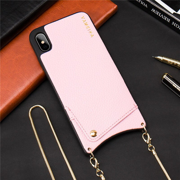 Pink Leather Case with Wallet and Lanyard - كفر مع محفظة وخيط علاقة