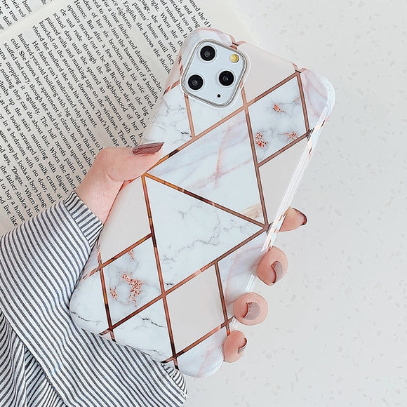 White and Pink Lines with Marble Geometric Case