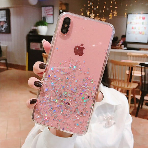 Rose Gold Glitter Clear Case