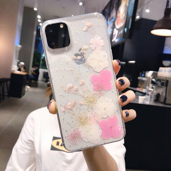 Clear Case with White and Pink Flowers