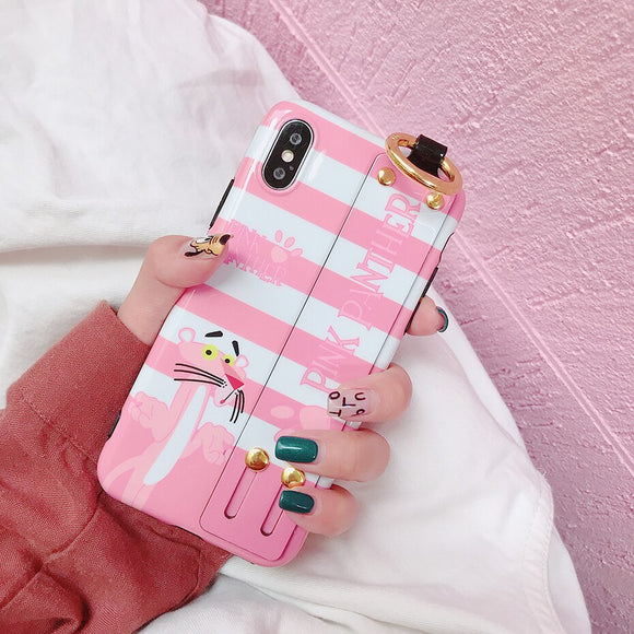 Pink Panther and White Stripes Case with Strap - كفر مع مسكة شريطة