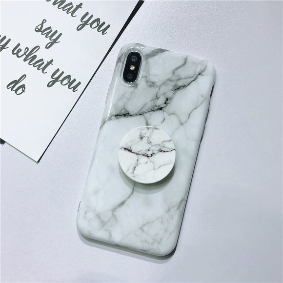White Shape Marble Case with POP Grip - كفر مع مسكة دائرية