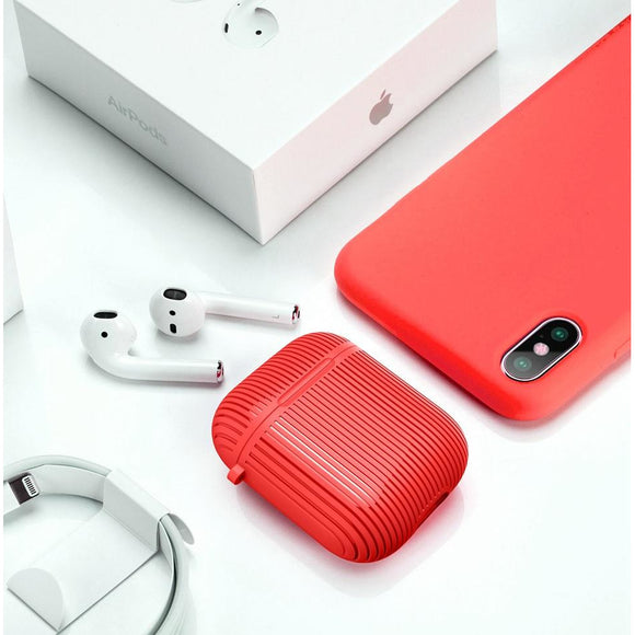 Red Silicon AirPods Case with Key-Chain