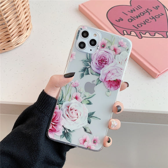 Clear Case with Pink and Red Flowers