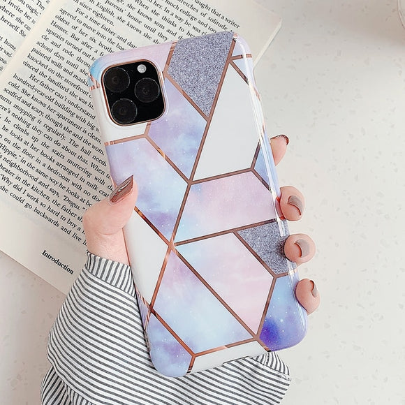 Purple and Pink Marble Geometric Case