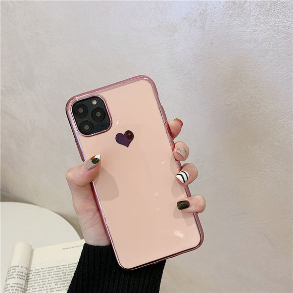 Pink Love Heart with Clear Case