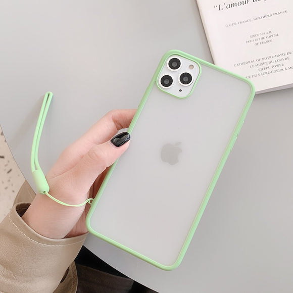 Light Green Border Clear Case with Lanyard - كفر مع خيط علاقة