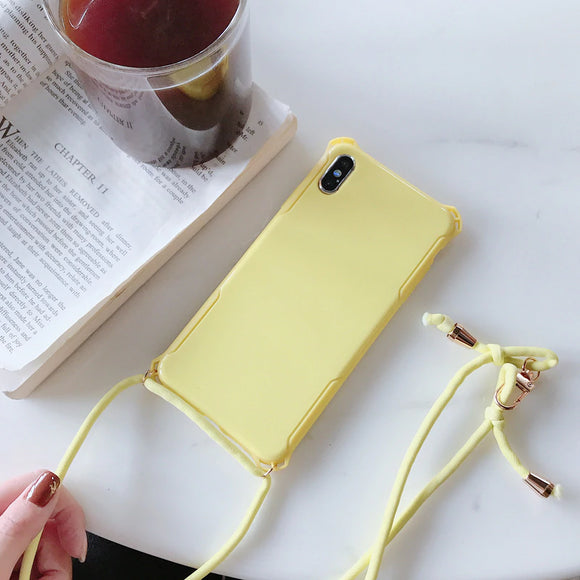 Yellow Plain Case with Lanyard - كفر مع خيط علاقة
