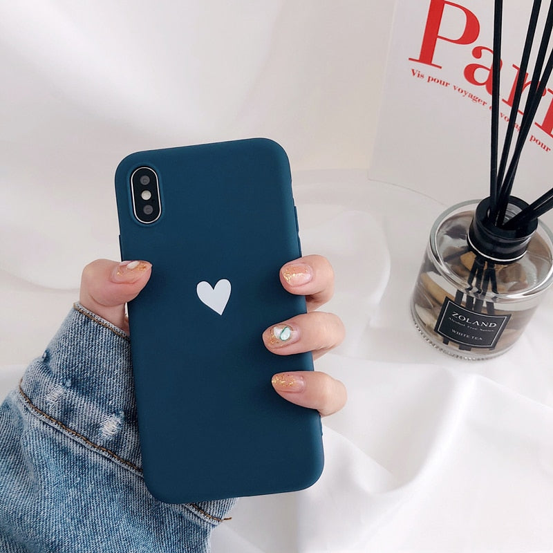 Navy Plain Case with Small White Heart