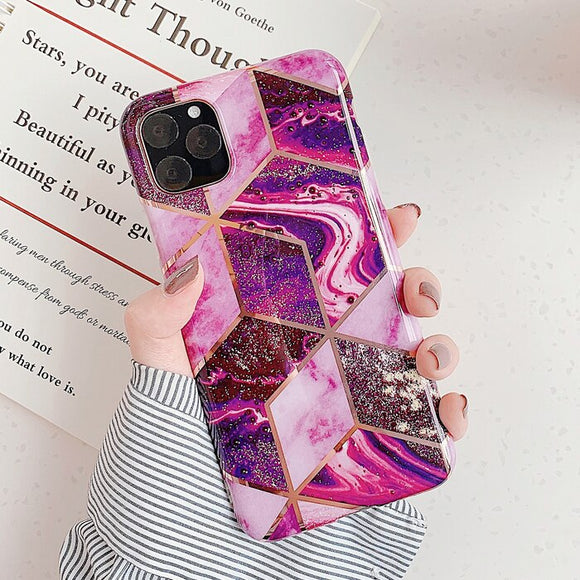 Shiny Marble Geometric Dark Pink Case