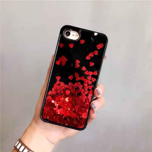 Red Dynamic Heart Glitter Liquid Case