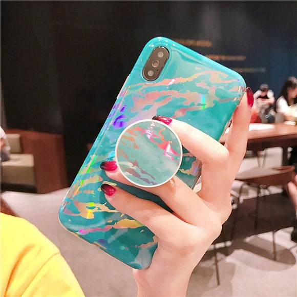 Blue Shiny Marble Case with POP Grip - كفر مع مسكة دائرية