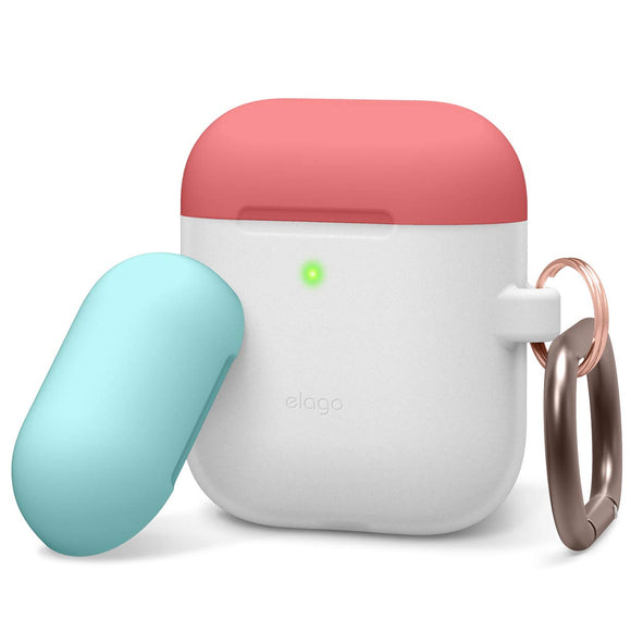 Elago AirPods Duo Hang Case/ Body - Nightglow Blue, Top - Italian Rose, Coral Blue - كفر حماية سماعة ابل ايربودز - ايلاقو