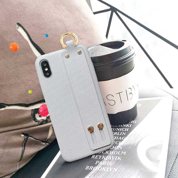 Grey Soft Candy Case with Strap - كفر مع مسكة شريطة