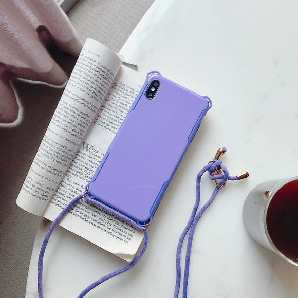 Purple Plain Case with Lanyard - كفر مع خيط علاقة