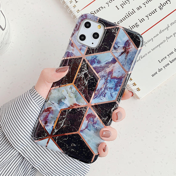 Dark Black Marble Geometric Case
