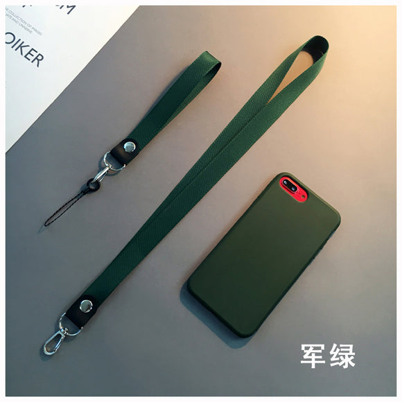 Oil Color Plain Case with Short and Long Lanyard - كفر مع علاقة قصيرة و طويلة