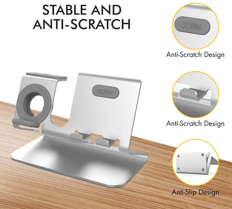 AhaStyle 3 in 1 Charging Stand Dock Aluminum Desktop Holder for Phone, AirPods, and Apple Watch - Silver - ستاند - 3 في 1