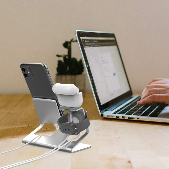 AhaStyle 3 in 1 Charging Stand Dock Aluminum Desktop Holder for Cell Phone, AirPods, and Apple Watch Series - ستاند - 3 في 1